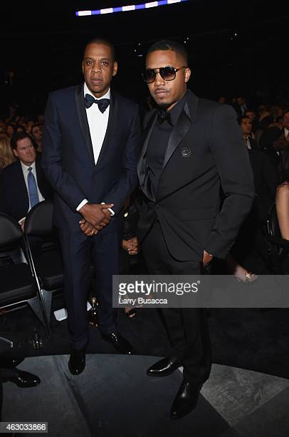 Rappers Jay Z and Nas attend The 57th Annual GRAMMY Awards at the STAPLES Center on February 8 2015 in Los Angeles California