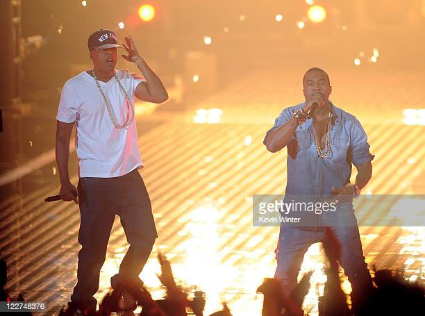 Rappers JayZ and Kanye West perform onstage during the 2011 MTV Video Music Awards at Nokia Theatre LA LIVE on August 28 2011 in Los Angeles...