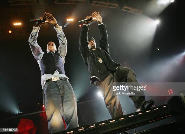 Rappers JayZ and Memphis Bleek perform on the Best of Both Worlds tour November 1 2004 at Madison Square Garden in New York City The tour was...