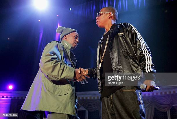 Rappers JayZ and Nas perform onstage during Power 1051's Powerhouse 2005 Operation Takeover at the Continental Airlines Arena on October 27 2005 in...