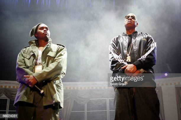 Rappers JayZ and Nas perform onstage during Power 1051's 'Powerhouse 2005 Operation Takeover' at the Continental Airlines Arena on October 27 2005 in...