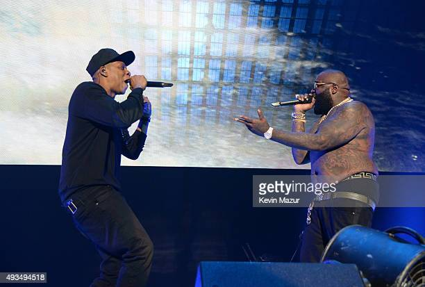 Rappers JayZ and Rick Ross perform onstage during TIDAL X 1020 Amplified by HTC at Barclays Center of Brooklyn on October 20 2015 in New York City