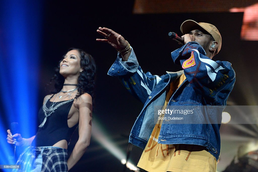 Rappers Jhene Aiko and Big Sean perform onstage at the Power 106 Powerhouse show at Honda Center on June 3, 2016 in Anaheim, California.
