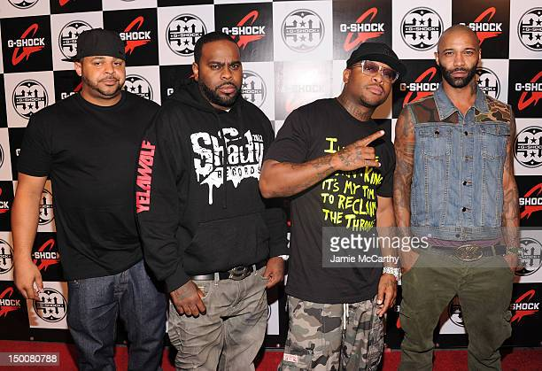 """Rappers Joell Ortiz, Crooked I, Royce da 5'9"""" and Joe Budden of Slaughterhouse attend the G-Shock 30th Anniversary Kick Off Event at the Hammerstein..."""