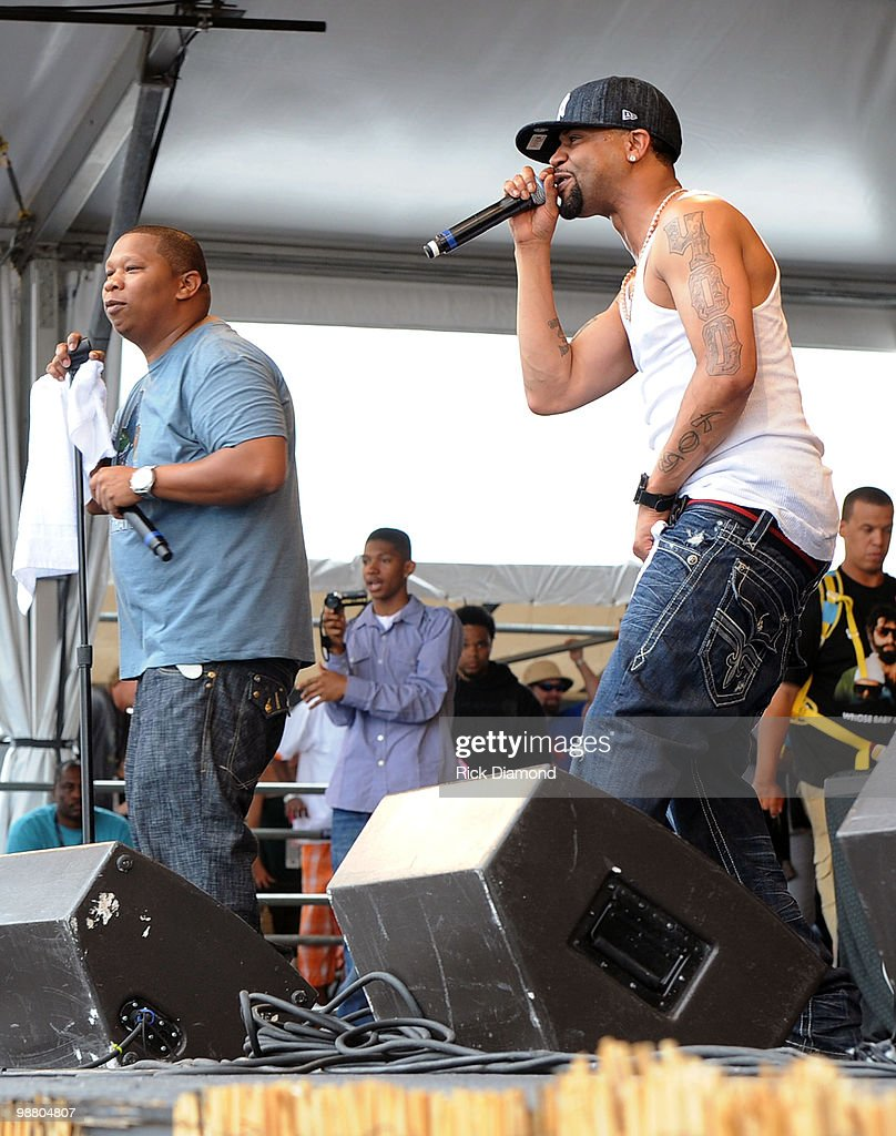 Rappers Juvenile (right) & DJ Mannie Fresh (left) perform at the 2010 New Orleans Jazz & Heritage Festival Presented By Shell - Day 7 at the Fair Grounds Race Course on May 2, 2010 in New Orleans, Louisiana.
