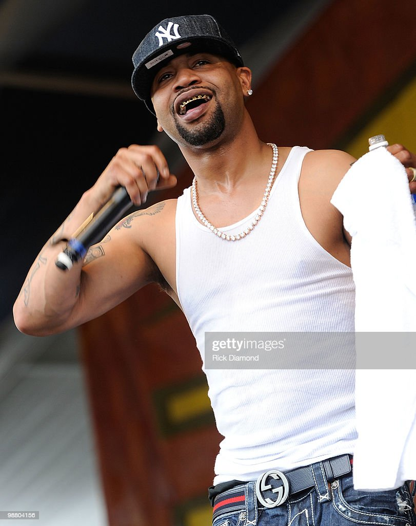 Rappers Juvenile (pictured) & DJ Mannie Fresh performs at the 2010 New Orleans Jazz & Heritage Festival Presented By Shell - Day 7 at the Fair Grounds Race Course on May 2, 2010 in New Orleans, Louisiana.