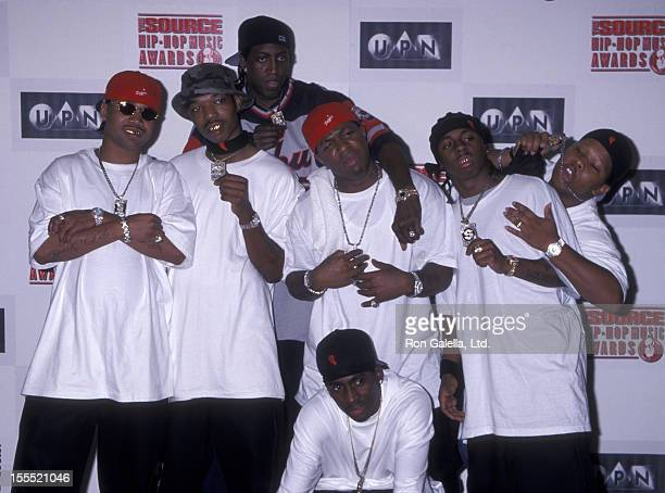 Rappers Juvnele BG Turk Birdman Lil Wayne of the Hot Boys and producer Mannie Fresh attend The Source HipHop Music Awards on August 18 1999 at the...