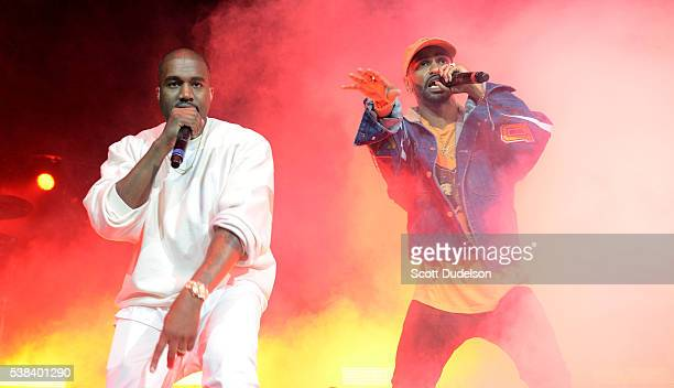Rappers Kanye West and Big Sean perform onstage at the Power 106 Powerhouse show at Honda Center on June 3 2016 in Anaheim California
