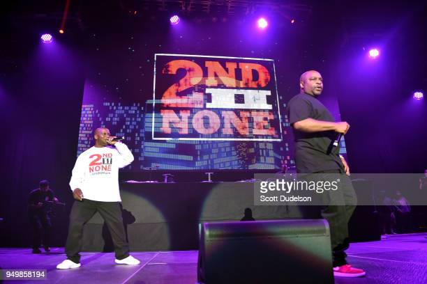 Rappers Kelton McDonald and Deon Barnett of the hip hop duo 2nd II None perform onstage during the KDay 935 Krush Groove concert at The Forum on...
