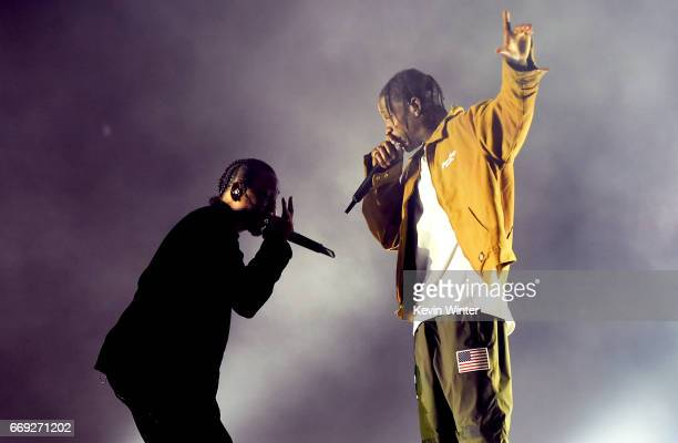 Rappers Kendrick Lamar and Travis Scott perform on the Coachella Stage during day 3 of the Coachella Valley Music And Arts Festival at the Empire...