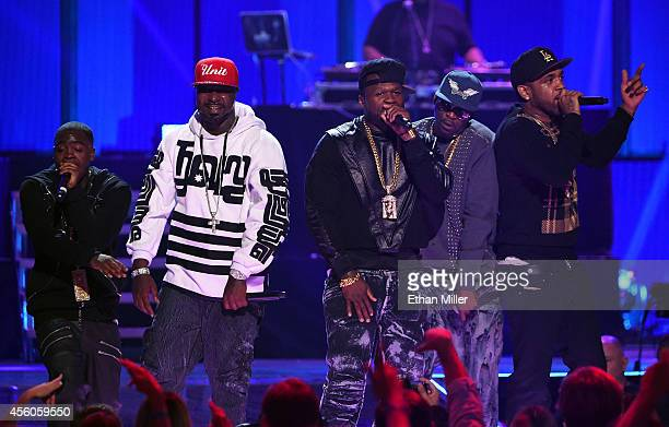 Rappers Kidd Kidd, Young Buck, 50 Cent, Tony Yayo and Lloyd Banks of G-Unit perform during the 2014 iHeartRadio Music Festival at the MGM Grand...