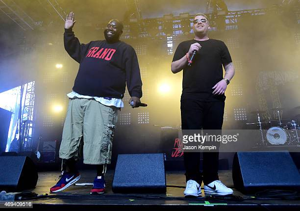 Rappers Killer Mike and ElP of Run the Jewels perform onstage during day 2 of the 2015 Coachella Valley Music Arts Festival at the Empire Polo Club...