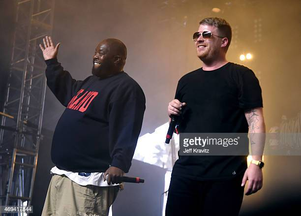 Rappers Killer Mike and El-P of Run the Jewels perform onstage during day 2 of the 2015 Coachella Valley Music & Arts Festival at the Empire Polo...