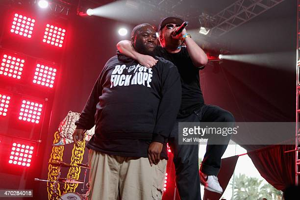 Rappers Killer Mike and ElP of Run The Jewels perform onstage during day 2 of the 2015 Coachella Valley Music And Arts Festival at The Empire Polo...