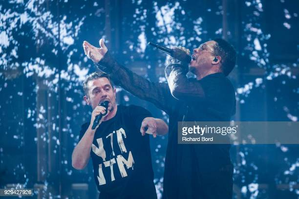 Rappers Kool Shen and Joey Starr of NTM perform at AccorHotels Arena on March 8 2018 in Paris France