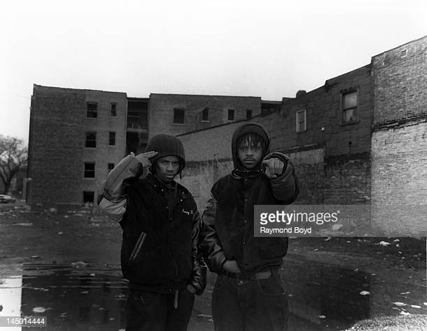 Rappers Krazy Drayzy and Skoob of hiphop group Das Efx poses for photos on location in Chicago Illinois in APRIL 1992