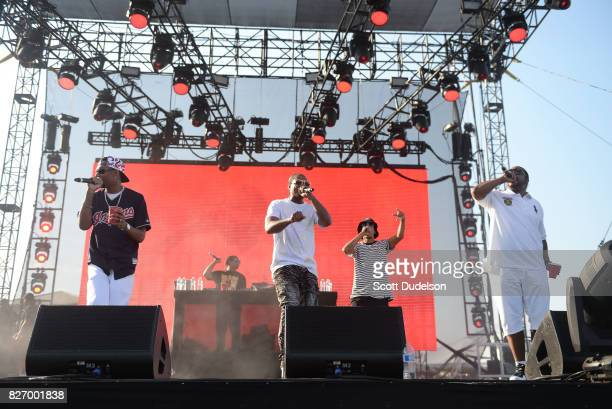 Rappers Kryazie Bone FleshnBone Layzie Bone and Wish Bone of Bone Thugs N Harmony perform onstage during Summertime in the LBC festival on August 5...