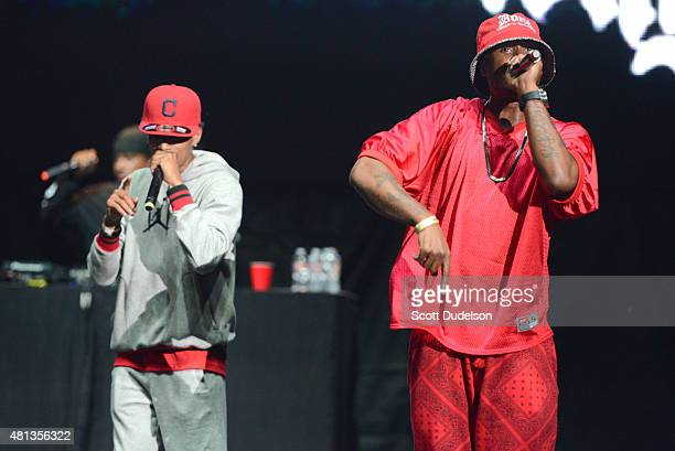 Rappers Layzie Bone and FleshnBone of Bone ThugsNHarmony perform onstage at Irvine Meadows Amphitheatre on July 18 2015 in Irvine California