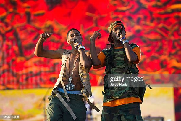 Rappers Layzie Bone and Krayzie Bone of Bone ThugsnHarmony perform at Rock The Bells Music Festival at NOS Events Center on August 19 2012 in San...