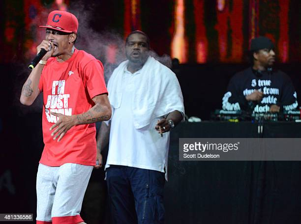Rappers Layzie Bone and Wish Bone of Bone ThugsNHarmony perform onstage at Irvine Meadows Amphitheatre on July 18 2015 in Irvine California
