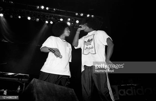 Rappers Layzie Bone and Wish Bone of Bone ThugsNHarmony performs at the International Amphitheatre in Chicago Illinois in April 1995
