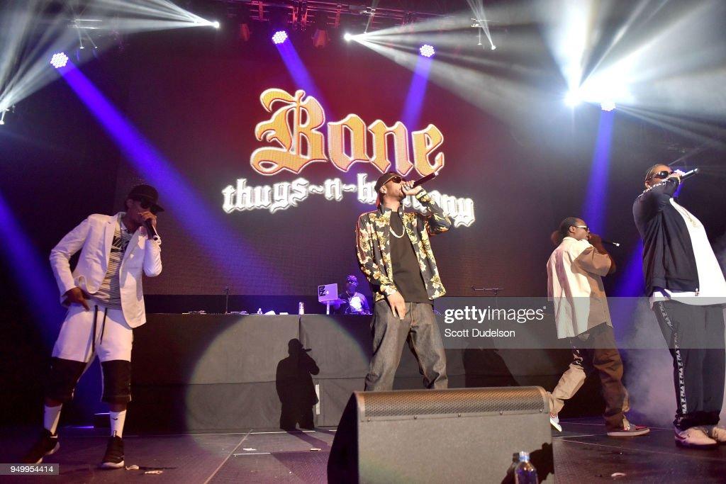 Rappers Layzie Bone, Krayzie Bone, Flesh-N-Bone and Wish Bone of Bone Thugs-n-Harmony perform onstage during the KDay 93.5 Krush Groove concert at The Forum on April 21, 2018 in Inglewood, California.
