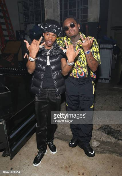 Rappers Lil Baby and Gunna pose for a picture backstage during the BET Hip Hop Awards 2018 at Fillmore Miami Beach on October 6 2018 in Miami Beach...