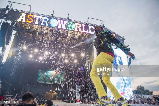 Rappers Lil Duke and Young Thug perform onstage during Travis Scott's inaugural Astroworld Festival at NRG Park on November 17 2018 in Houston Texas