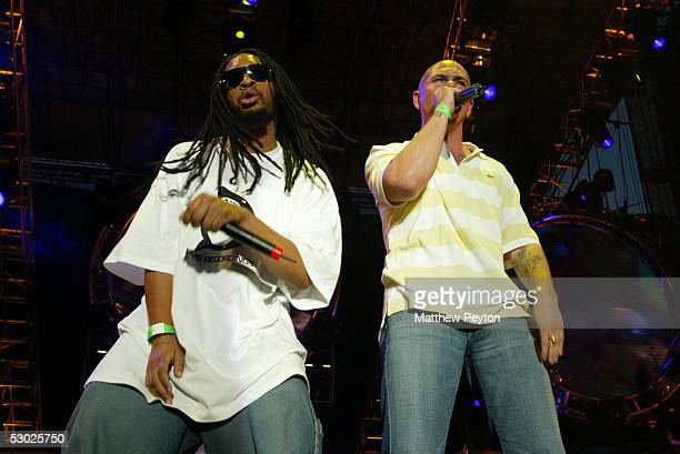 Rappers Lil' Jon and Pitbull perform at the Hot 97 Summer Jam 2005 Concert June 5 2005 at Giant Stadium in East Rutherford New Jersey
