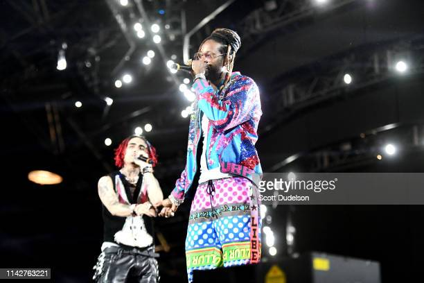 Rappers Lil Pump and 2 Chainz perform onstage during Weekend 1, Day 3 of the Coachella Valley Music and Arts Festival on April 14, 2019 in Indio,...