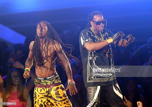 Rappers Lil Wayne and 2 Chainz perform onstage during the 2012 MTV Video Music Awards at Staples Center on September 6 2012 in Los Angeles California