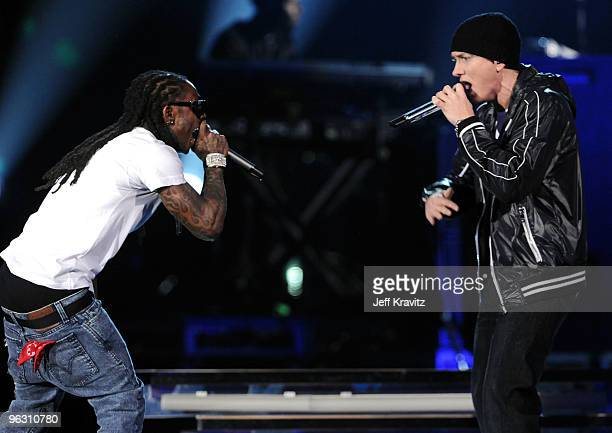 Rappers Lil' Wayne and Eminem performs onstage during the 52nd Annual GRAMMY Awards held at Staples Center on January 31 2010 in Los Angeles...