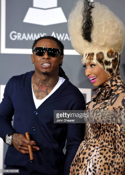 Rappers Lil Wayne and Nicki Minaj arrive at The 53rd Annual GRAMMY Awards held at Staples Center on February 13 2011 in Los Angeles California