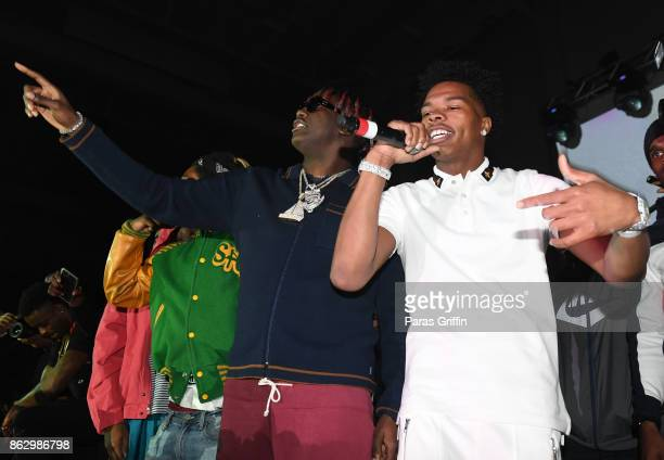 Rappers Lil Yachty and Lil Baby perform onstage during Morehouse Homecoming Hip Hop Concert at Morehouse College Forbes Arena on October 18 2017 in...