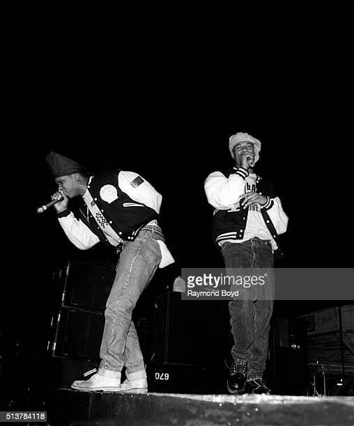 Rappers Luke Skyywalker and Brother Marquis from 2 Live Crew performs on stage at the International Amphitheatre in Chicago Illinois in 1989