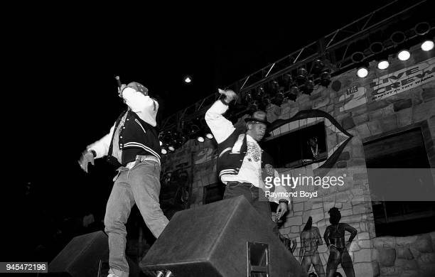 Rappers Luke Skyywalker Fresh Kid Ice and Brother Marquis from 2 Live Crew performs at the International Amphitheatre in Chicago Illinois in October...
