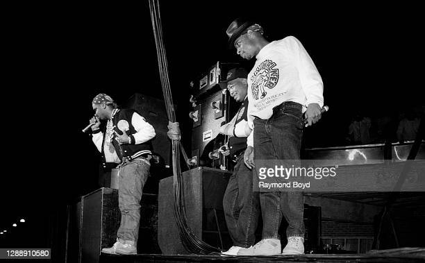 Rappers Luke Skyywalker, Fresh Kid Ice and Brother Marquis of 2 Live Crew performs at the International Amphitheatre in Chicago, Illinois in October...