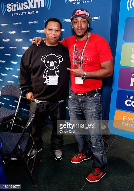 Rappers Mannie Fresh and Mystikal attend SiriusXM's Live Broadcast from Radio Row during Bowl XLVII week on February 1 2013 in New Orleans Louisiana