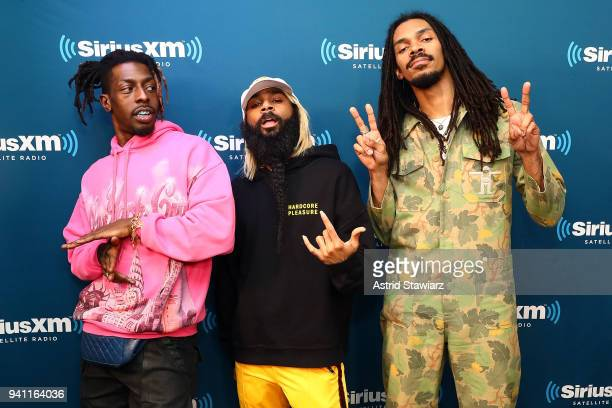 Rappers Meechy Darko Zombie Juice and Erick Arc Elliott of the rap group Flatbush Zombies perform during a taping of 'Hip Hop Nation' on Eminem's...