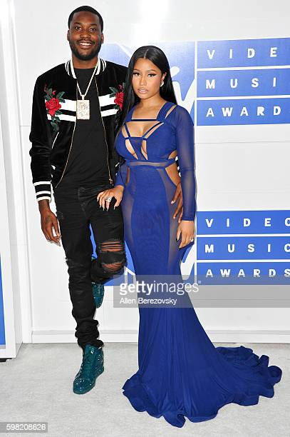 Rappers Meek Mill and Nicki Minaj arrive at the 2016 MTV Video Music Awards at Madison Square Garden on August 28 2016 in New York City