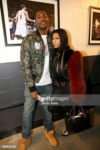 Rappers Meek Mill and Nicki Minaj attend Power 1051's Powerhouse 2015 at the Barclays Center on October 22 2015 in Brooklyn NY