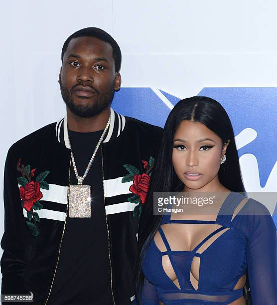Rappers Meek Mill and Nicki Minaj attend the 2016 MTV Video Music Awards at Madison Square Garden on August 28 2016 in New York City