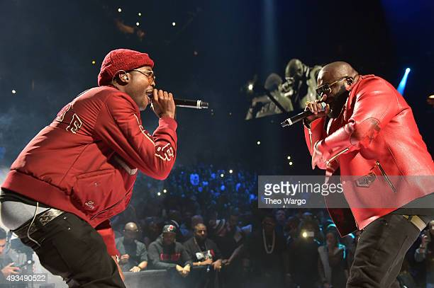 Rappers Meek Mill and Rick Ross perform onstage during TIDAL X 1020 Amplified by HTC at Barclays Center of Brooklyn on October 20 2015 in New York...