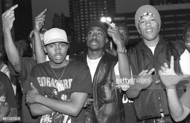 Rappers Nas Tupac Shakur and Redman pose for a portrait at Club Amazon on July 23 1993 in New York New York