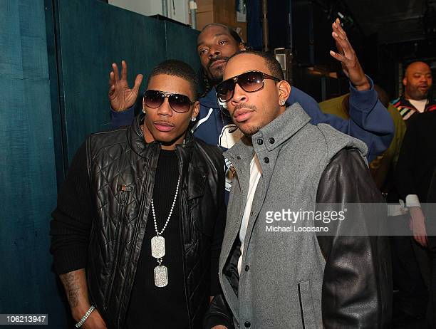 """Rappers Nelly, Snoop Dogg and Ludacris pose backstage during MTV's TRL """"Total Finale Live"""" at the MTV Studios in Times Square on November 16, 2008 in..."""