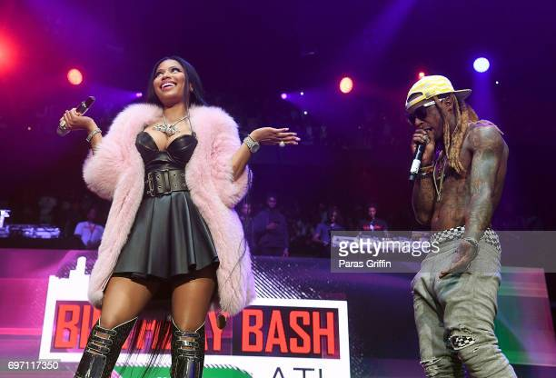 Rappers Nicki Minaj and Lil Wayne perform surprise performance at Hot 1079 Birthday Bash Pop Up Edition at Philips Arena on June 17 2017 in Atlanta...
