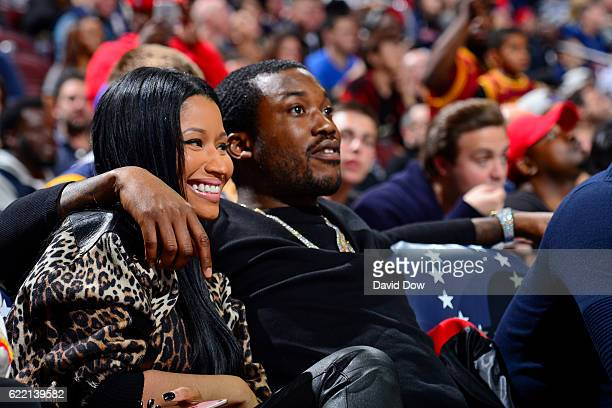 Rappers Nicki Minaj and Meek Mill attend the Cleveland Cavaliers game against the Philadelphia 76ers at the Wells Fargo Center on November 5 2016 in...