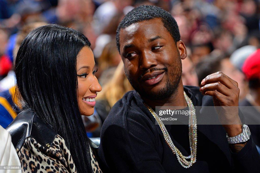 Rappers, Nicki Minaj and Meek Mill attend the Cleveland Cavaliers game against the Philadelphia 76ers at the Wells Fargo Center on November 5, 2016 in Philadelphia, Pennsylvania.