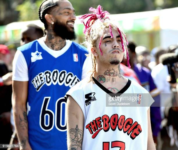 Rappers Nipsey Hussle and Lil Pump attends the first annual YG and Friends Daytime Boogie Basketball Tournament at The Shrine Auditorium on February...