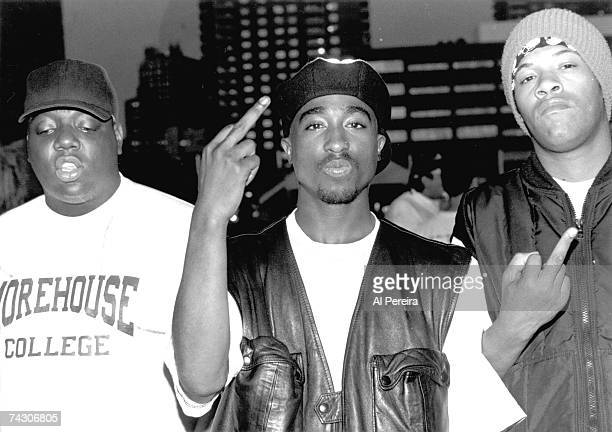Rappers Notorious BIG Tupac Shakur and Redman pose for a portrait at Club Amazon on July 23 1993 in New York New York